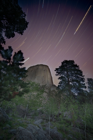 Astro-landscape image of Devils Tower, Wyoming. © Terry Ownby