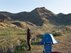 Nick contemplating early morning fishing on the Owyhee River, Or