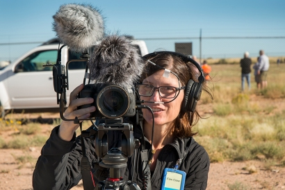 "Professor Kavanagh conducting video interviews for her documentary project ""Atomic Tourist: Trinity"" at White Sands Missile Range, New Mexico, October 7, 2017."