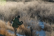 Dr. Chuck Peterson photographing along the Portneuf River with hoarfrost and temp @ 4F.